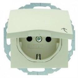 Розетка с заземляющими контактами, с откидной крышкой, кремовый 47448982 - фото 14149