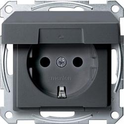 Розетка 1-ая электрическая , с заземлением и крышкой, защитными шторками, Merten, Антрацит - фото 26653
