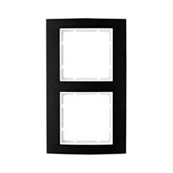 Рамкa 2-поста, Berker B.3, Материал: алюминий цвет: Чёрный/полярная белизна 10123025 - фото 3739