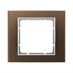Рамкa 1-пост, Berker B.3, Материал: алюминий цвет: коричневый/полярная белизна 10113021 - фото 3748