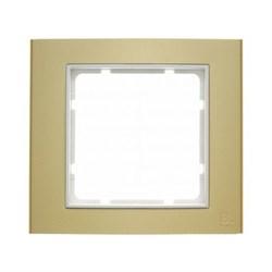 Рамкa 1-пост, Berker B.3, Материал: алюминий цвет: золотой/полярная белизна 10113046 - фото 3758