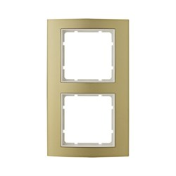 Рамкa 2-поста, Berker B.3, Материал: алюминий цвет: золотой/полярная белизна 10123046 - фото 3759