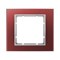 Рамкa 1-пост, Berker B.3, Материал: алюминий цвет: красный/полярная белизна 10113022 - фото 3768