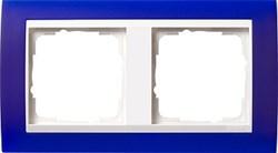 Рамка 2-пост для центральных вставок белого цвета, Gira Event Синий - фото 3880