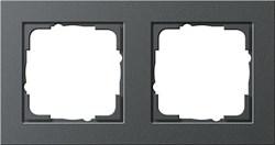 Обладающая повышенной прочностью Рамка двухместная Gira E2 Антрацит - фото 4005
