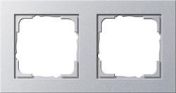 Обладающая повышенной прочностью Рамка двухместная Gira E2 Алюминий - фото 4006