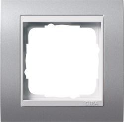 Рамка 1-пост для центральных вставок белого цвета, Gira Event Алюминий - фото 4022