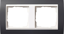 Рамка 2-поста для центральных вставок белого цвета, Gira Event Антрацит - фото 4025
