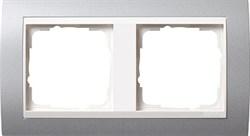 Рамка 2-поста для центральных вставок белого цвета, Gira Event Алюминий - фото 4026