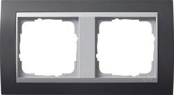 """Рамка 2-поста для центральных вставок """"алюминий"""", Gira Event Антрацит - фото 4065"""