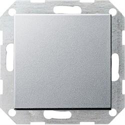 Клавишный выключатель с самовозвратом проходной 10 А / 250 В~ в сборе Gira System 55 Алюминий - фото 4100
