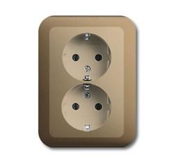 Розетка SCHUKO 16А 250В, двойная, ABB alpha цвет коричневый - фото 4818