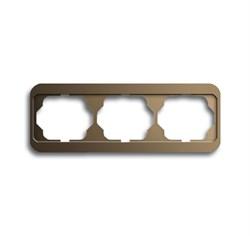 Рамка 3-поста горизонтальная, ABB alpha цвет коричневый - фото 4873