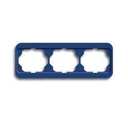 Рамка 3-поста горизонтальная, ABB alpha цвет синий - фото 4878