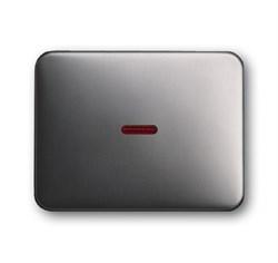 Клавиша для механизма 1-клавишных выключателей/переключателей/кнопок с красной линзой, ABB alpha цвет платина - фото 5004