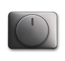 Плата центральная (накладка) с ручкой и лампой для поворотного светорегулятора, ABB alpha цвет платина - фото 5010