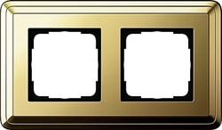 Рамка Gira ClassiX двухместная Латунь 0212631 - фото 5382