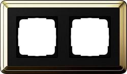 Рамка Gira ClassiX двухместная Латунь-Чёрный 0212632 - фото 5383