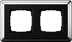 Рамка Gira ClassiX двухместная Хром-Чёрный 0212642 - фото 5386