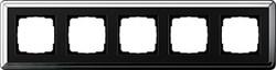 Рамка Gira ClassiX пятиместная Хром-Чёрный 0215642 - фото 5412