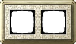 Рамка Gira ClassiX Art двухместная Бронза-кремовый 0212663 - фото 5425