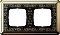 Рамка Gira ClassiX Art двухместная Латунь-Чёрный 0212672 - фото 5427