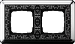 Рамка Gira ClassiX Art двухместная Хром-Чёрный 0212682 - фото 5430