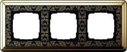 Рамка Gira ClassiX Art трехместная Латунь-Чёрный 0213672 - фото 5436
