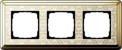 Рамка Gira ClassiX Art трехместная Латунь-кремовый 0213673 - фото 5437