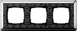 Рамка Gira ClassiX Art трехместная Хром-Чёрный 0213682 - фото 5439