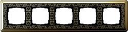 Рамка Gira ClassiX Art пятиместная Латунь-Чёрный 0215672 - фото 5454
