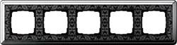 Рамка Gira ClassiX Art пятиместная Хром-Чёрный 0215682 - фото 5457