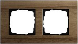 """Рамка 2-пост, Gira Esprit Алюминий """"шпон орехового дерева"""" - фото 5858"""