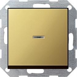 Выключатель с подсветкой с самовозвратом 10 А / 250 В~ в сборе Gira System 55 Латунь 0136604 - фото 6474