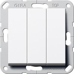 Выключатель Gira самовозвратом 3-клавишный Белый Глянцевый (284403) - фото 6482