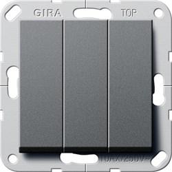 Выключатель Gira самовозвратом 3-клавишный Антрацит (284428) - фото 6483