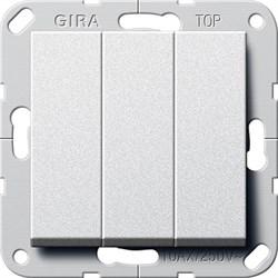 Выключатель Gira самовозвратом 3-клавишный Алюминий (284426) - фото 6484