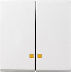Двойные клавиши с окошками для подсветки Gira System 55 Белый - фото 6503