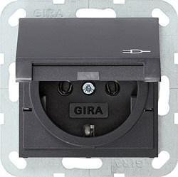Розетка с откидной крышкой Антрацит Gira 045428 - фото 6547