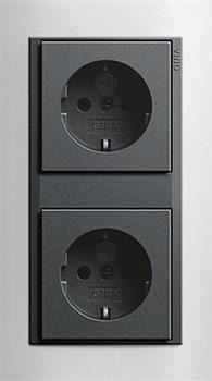 Рамка 2-поста для центральных вставок антацит, Gira Event Темно-коричневый - фото 7274