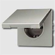 Розетка с заземляющими контактами 16 А / 250 В~, с откидной крышкой и уплотнительной мембраной IP44 Jung LS Aluminium Алюминий al1520kl