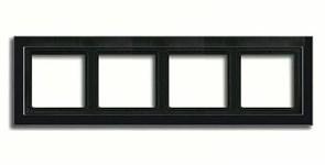 Рамка четверная для горизонтального/вертикального монтажа Jung LS design Черный глянцевый LSD984SW