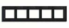 Рамка пятерная для горизонтального/вертикального монтажа  Jung LS design Черный глянцевый LSD985SW