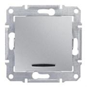 Sedna Алюминий Выключатель 1-клавишный кнопочный с подсветкой 10А (сх.1)
