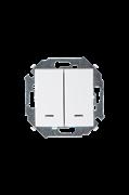Simon 15 Белый Выключатель 2-клавишный с подсветкой, 16А, 250В, винт.зажим