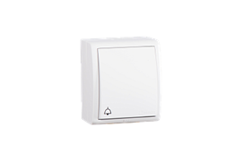 """Simon 15 Aqua Белый Выключатель 1-клавишный кнопочный с подсветкой с символом """"звонок"""" наружный, IP54"""