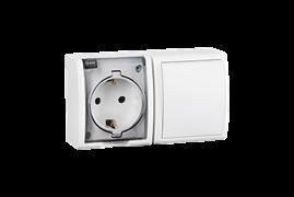 Simon 15 Aqua Белый Блок: Розетка 2P+E Schuko 16А 250В + выключатель 10А 250В, IP54