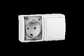 Simon 15 Aqua Белый Блок: Розетка 2P+E Schuko 16А 250В + выключатель проходной 10А 250В, IP54