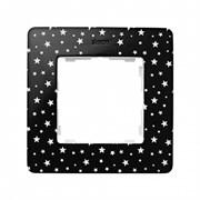 Simon 82 Detail Черный в белую звёздочку, основание белое Рамка 1-ая