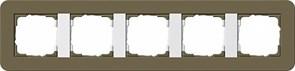 Gira серия E3 Дымчатый/белый глянцевый Рамка 5-ая